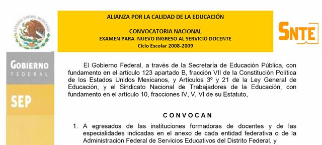 Examen para el otorgamiento de plazas a docentes en Convocatoria para las plazas docentes 2016