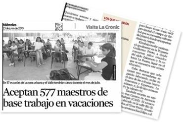 Ver Aceptan 577 maestros de base trabajo en vacaciones