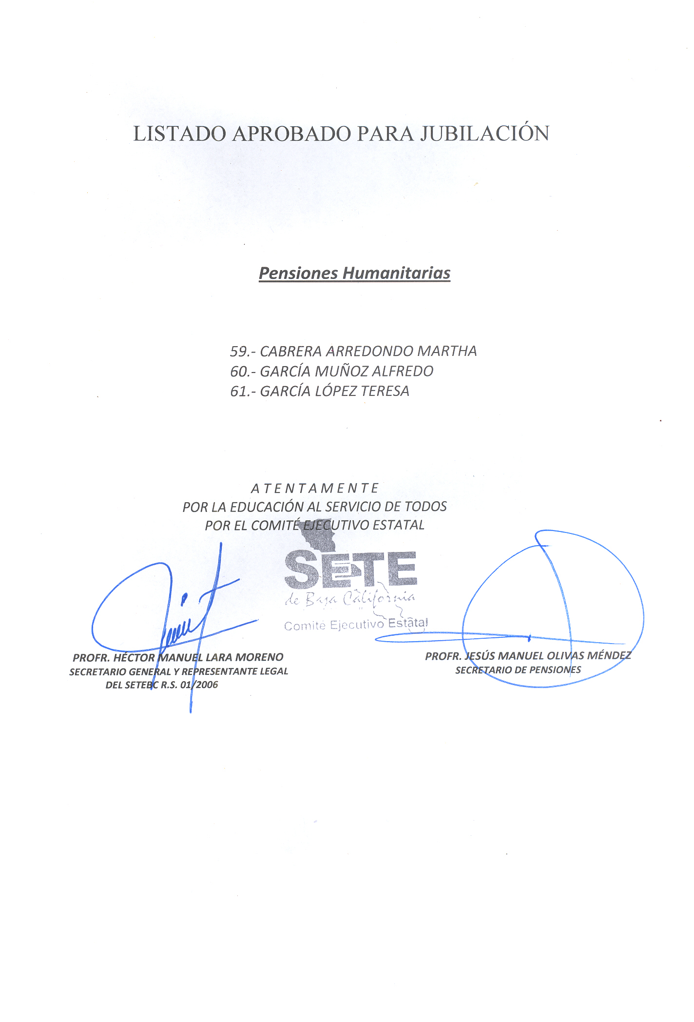 LISTADO DE PENSIONADOS DE FEBRERO Y MENSAJE | Setebc's WordPress