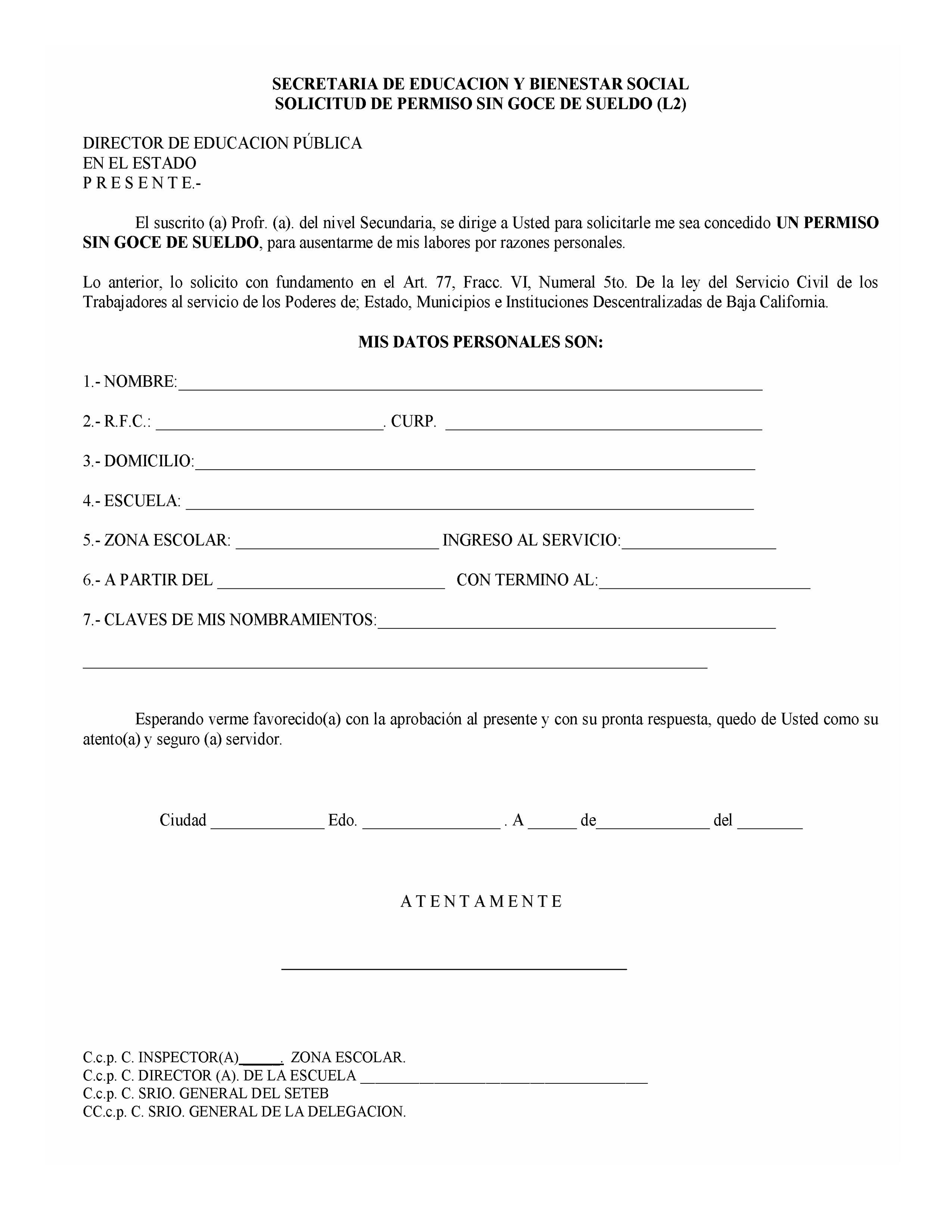 formato solicitud de permiso: