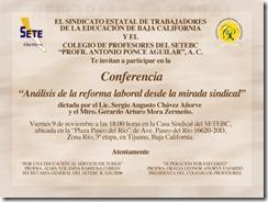 INVITACIÓN A LA CONFERENCIA ANÁLISIS DE LA REFORMA LABORAL DESDE LA MIRADA SINDICAL