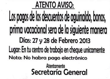 Pagos de los descuentos de Aguinaldos del SETEBC 2013