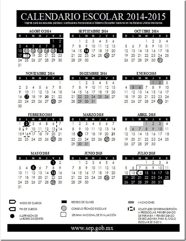 Calendario Escolar 2014-2015 SEP (Borrador)